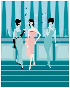 Cocktail Social Modern Lounge Giclee Print by Kerry by kerrybeary