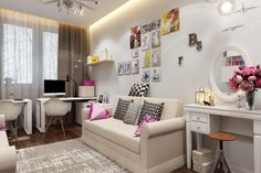 Girls Youth Room - 24 ideas with different styles - Home Decoration Cool Kids Rooms, Kids Room Paint, Sofa Design, Interior Design, Kids Bed With Slide, White Eames Chair, Kids Room Murals, Kids Room Design, Teen Girl Bedrooms