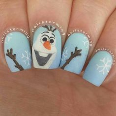 "Olaf! ❄⛄ repost of my Olaf nails from the spring! (That's why my nails are longer) - - **Tutorial was already posted!!** - - Products used: Base: ""Mint Candy Apple"" to ""Bikini So Teeny"" Essie Details: acrylic paint Top coat: Matte About You Essie"