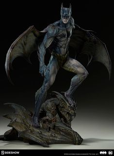 """Last month, Sideshow Collectibles unveiled a new series of Batman statues called """"Gotham City Nightmare."""" The lineup reinterprets the Dark Knight and his. Zeus Statue, Crow Movie, Arte Dc Comics, Batman Universe, Batman The Dark Knight, Batman Art, Superman, 3d Prints, Sideshow Collectibles"""