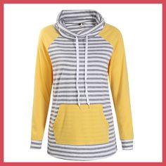 Hoodies Women Autumn Long Sleeve Sweatshirt Women Fashion Stripe Print  Pullover Femme Casual Hooded Tops WS3781C 14ca639d56
