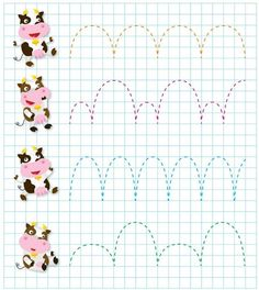 cow Pre writing for kindergarten Printable Preschool Worksheets, Tracing Worksheets, Worksheets For Kids, Learning Colors, Kids Learning, Tracing Sheets, Pre Writing, Early Childhood Education, Craft Activities For Kids