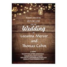 #Farmhouse Glam Rustic Wood Wedding Invitation - #outdoor #wedding #gifts