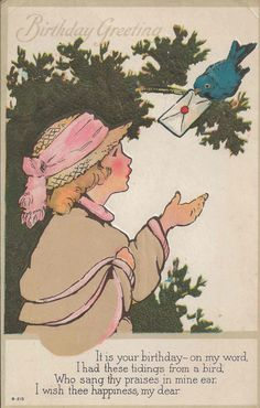 Items similar to Antique Postcard With Happy Birthday Greeting and Charming Bluebird Delivering Letter to Lovely Girl and Birthday Poem on Front on Etsy