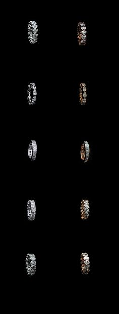 Serie of eternity diamonds band in platinum and pink gold COLUCCI DIAMONDS