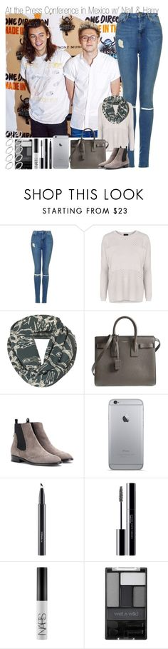 """""""At a Press Conference in Mexico with Niall and Harry"""" by elise-22 ❤ liked on Polyvore featuring Topshop, Yves Saint Laurent, Balenciaga, MAC Cosmetics, shu uemura, NARS Cosmetics, Wet n Wild and ASOS"""