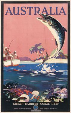 Australia - Great Barrier Coral Reef by Northfield, James (1935 ca.) | Shop original vintage posters online: www.internationalposter.com