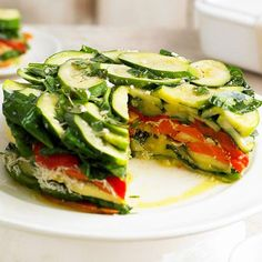 This Layered Vegetable-Romano Torte features colorful layers of veggies separated by rich Romano cheese. More healthy potluck recipes: Healthy Potluck, Potluck Recipes, Raw Food Recipes, Vegetable Recipes, Vegetarian Recipes, Cooking Recipes, Healthy Recipes, Work Potluck, Cooking Tips