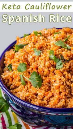"""Keto Spanish cauliflower rice with all the flavor but very few carbs."" Keto Cauliflower Spanish Rice – You must try this recipe. #keto #ketodiet #ketorecipes #ketogenic #ketogenicdiet #ketogenicrecipes #lowcarb #lowcarbrecipes #healthyfood"
