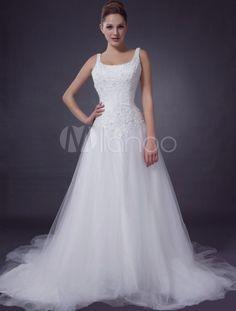 White A-line Sleeveless Beading Net Wedding Dress - Milanoo.com