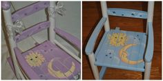Childrens Custom Hand Painted Celestial Moon and Stars Rocking Chair hand painted by onmyown14 on etsy.com