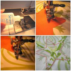 """""""Absolutely the best appliqué tutorial.""""   Tells which sewing stitches work best.  Needle placement for turns or points.   Best fabrics for appliqué.  How to work with certain types of fabric.  Step by step on how to appliqué.     Summer Sewing ~ Simple Machine Appliqué « Sew,Mama,Sew! Blog  DIY sewing applique."""