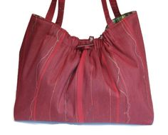 Knitting Project Bag Red Fabric Tote Knitting by ButtermilkCottage, $70.00