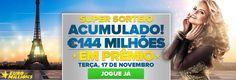 Super sorteio acumulado da #loteria Euromilhoes nesta terça, 17 de novembro de 2015, 144 milhões de euros!!! Jogue online no www.grandesloterias.com