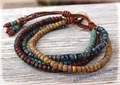 DESIGNING ORIGINAL Seed Bead Leather Wrap by AZJEWELRYBYELIZABETH