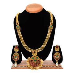 Aaishwarya Traditional Multicolored Stones Long Haar Golden Toned Necklace Sets #necklaceset #fashionjewelry #longnecklaceset #longhaar #ethnicjewelry #tradtionalnecklaceset