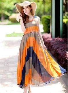 Orange And Grey Striped Round Neck Sleeveless Irregular Chiffon Dress