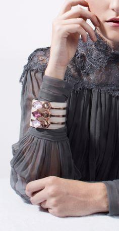 Giuliana Mancinelli Bonafaccia Lavender Swarovski Crystal Rose Gold Cuff Bracelet