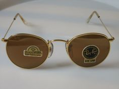 55e170aef3 Vintage Ray Ban B L USA Diamond Hard Round Gold Mirror Sunglasses John  Lennon | eBay John