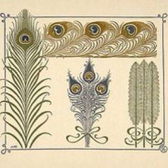 Art Nouveau peacock feather designs.