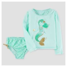 Toddler Girls' Rash Guard & Bottoms Set Mint Mermaid - Just One You™ Made by Carter's®
