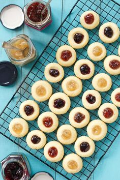 Shortbread Cookie Thumbprints filled with homemade fruit jam!