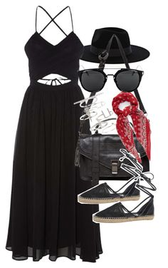 """Outfit with a black maxi dress for summer"" by ferned on Polyvore featuring Warehouse, Topshop, Proenza Schouler, Circus By Sam Edelman and Yves Saint Laurent"