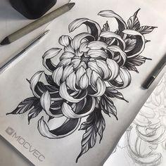 Chrysanth me - Crisantemo amour Japanese Peony Tattoo, Japanese Sleeve Tattoos, Flower Tattoo Designs, Flower Tattoos, Tattoo Sketches, Tattoo Drawings, Black Tattoos, Body Art Tattoos, Life Tattoos