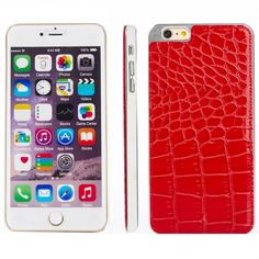 Crocodile Texture PU Paste Skin Metal Protective Case for iPhone 6 Plus(Red)