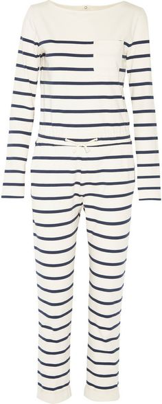 $69, Solid And Striped Breton Striped Cotton Jersey Jumpsuit. Sold by NET-A-PORTER.COM. Click for more info: https://lookastic.com/women/shop_items/390925/redirect