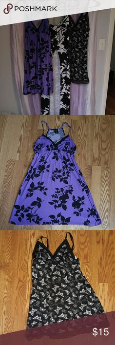 Bundle of 3 ! Dresses or camis Purple black flower super soft sexy apt 9med Black white butterfly Jessica Simpson large but fits like a med. One long dress cover up can wear with anything sassy med Dresses
