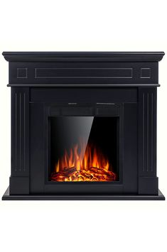 JAMFLY Electric Fireplace Mantel Package Wooden Surround Firebox TV Stand Free Standing Electric Fireplace Heater with Logs, Adjustable Led Flame, Remote Control, (Black) Free Standing Electric Fireplace, Electric Fireplace Heater, Amazon Stock, Family Rooms, Fireplace Mantels, Home Decor Styles, Hearth, Dining Rooms, Best Sellers