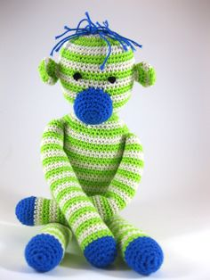 Knuffel aap, groen gestreept Crochet Animals, Dinosaur Stuffed Animal, Great Gifts, Toys, Cute, Crocheted Animals, Activity Toys, Clearance Toys, Kawaii