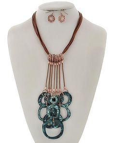 Burnished Copper & Patina / Brown Cord / Lead&nickel Compliant / Metal / Fish Hook (earrings) / Multi Strand / Pendant / Necklace & Earring Set