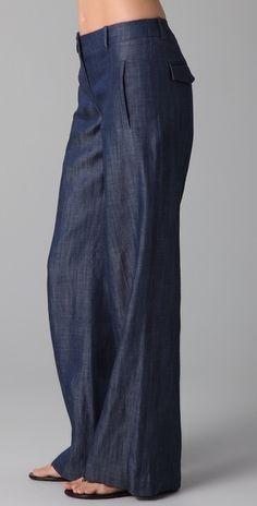 Tibi Lowrise Chambray Wideleg Jeans in Blue (indigo) - Lyst