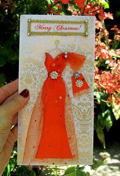 CUSTOM ORDER for wrrywrt1 /Orange Dress Card / DL Size by BSylvar, $20.00
