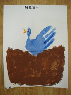 N is for Nest hand print painting
