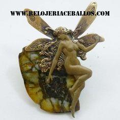 el ada de bronce con quiastolita. broche y colgante a la vez. hecho en Cudillero. relojeria Ceballos