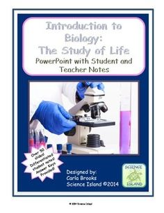"""Designed by a National Board Certified Science Teacher! Perfect for the first chapter in High School Biology, """"Introduction to Biology PowerPoint Lesson and Notes"""" includes three versions of differentiated student notes."""