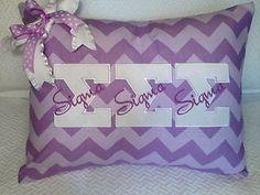 Sigma Sigma Sigma sorority greek letter pillow cover. Purple chevron!