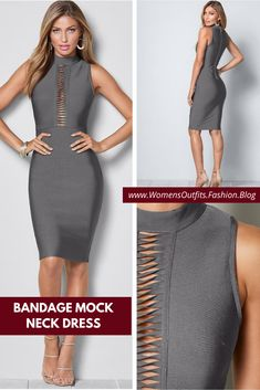💥 BANDAGE MOCK NECK DRESS  Conquer any occasion with confidence in this iconic, slimming Venus Hold U In bandage style dress. Item features a slit of strappy details at the bust and down to the midriff.  #Fashion #casualdress #outfit #womenswear #womensclothing #clothing #clothes #shoppingonline #chic #apparel #shopping #dresstoimpress Fashion Group, All Fashion, Woman Fashion, Women's Fashion Dresses, Fashion Trends, Mock Neck, Curvy Plus Size, Classic Outfits, Lovely Dresses