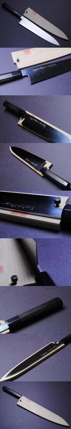 Honyaki Mirror-Finished Ebony Wa Gyuto Chef Knife 10.5 270mm-YOSHIHIRO -MADE IN JAPAN, Our handmade Yoshihiro Honyaki knives are handcrafted with extraordinary skill, forged of the highest quality steel according to the traditional methods used in ancient Japanese sword making by our ma..., #Kitchen, #Sashimi Knives