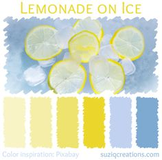 Nothing beats the sweet and tart combination of lemonade on ice to refresh yourself on a hot summer day. Pale to bright tones of yellow are offset with cool light blue tones.