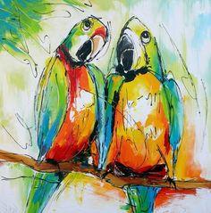schilderij papegaaien diverse afmetingen - kopen bij mooiaandemuur.com