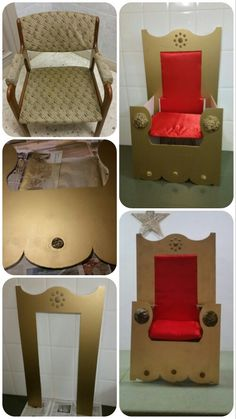 Transformation chair in royal throne for Christmas play … Vs Pilar Barreira (my 3 stars) King Chair, Throne Chair, Queen Chair, Medieval Party, Knight Party, Vacation Bible School, Princess Party, Classroom Decor, Sunday School