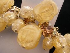 Book Piece D & E Juliana Cracked Yellow Ice Bead Rhinestone Bracelet Vintage
