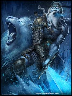 Frost Giant King (Mithril Hall/Generic Boss fight) and his Giant Wolf ally Applibot Advanced Ice-protector Card illustration by Remko Troost Viking Art, Character Art, Fantasy Artwork, Fantasy Art, Fantasy Warrior, Fantasy Illustration, Fantasy Creatures, Art, Fantasy Monster