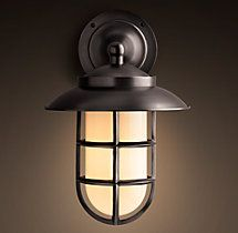 Exterior Lighting   Starboard Milk Glass Sconce With Shade - Bronze