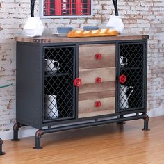 """Brixton I collection antique black frame and natural tone finish wood dining server.  Measures 49 3/4"""" x 16 1/2"""" x 35 1/4"""" H.  Some assembly required."""