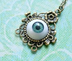 Green Eyeball Necklace Halloween Necklace Funky by iceblues, $18.00
